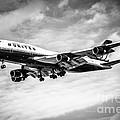 United Airlines Airplane In Black And White by Paul Velgos