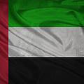 United Arab Emirates Flag Waving On Canvas by Eti Reid