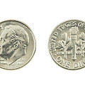 United States Dime On White Background by Keith Webber Jr
