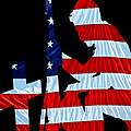 A Time To Remember United States Flag With Kneeling Soldier Silhouette by Bob Orsillo