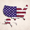 United States Map Art With Flag Design by World Art Prints And Designs