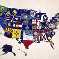 United States Map With Fifty States by World Art Prints And Designs
