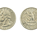 United States Quarter On White Background by Keith Webber Jr