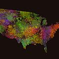 Unites States Watercolor Map by Georgeta Blanaru