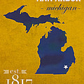 University Of Michigan Wolverines Ann Arbor College Town State Map Poster Series No 001 by Design Turnpike