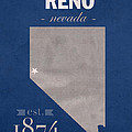 University Of Nevada Reno Wolfpack College Town State Map Poster Series No 072 by Design Turnpike