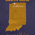 University Of Notre Dame Fighting Irish South Bend College Town State Map Poster Series No 081 by Design Turnpike