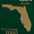 University Of South Florida Bulls Tampa Florida College Town State Map Poster Series No 101 by Design Turnpike