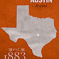 University Of Texas Longhorns Austin College Town State Map Poster Series No 105 by Design Turnpike