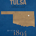 University Of Tulsa Oklahoma Golden Hurricane College Town State Map Poster Series No 115 by Design Turnpike
