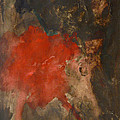Untitled Abstract - Umber With Scarlet by Kathleen Grace