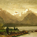 Untitled Mountains And Lake by Albert Bierstadt
