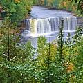 Upper Tahquamenon Falls In Early Autumn by Kathryn Lund Johnson