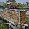 Upside Down Boat In Peggy's Cove Harbour by Randall Nyhof