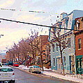 Urban Winter Landscape Colors Of Quebec Cold Day Pointe St Charles Street Scene Montreal  by Carole Spandau