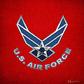U. S. Air Force  -  U S A F Logo On Red Leather by Serge Averbukh