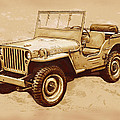 Us Army Jeep In World War 2 - Stylised Modern Drawing Art Sketch by Kim Wang