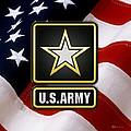 U. S. Army Logo Over American Flag. by Serge Averbukh