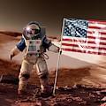 Us Astronaut On Mars by Detlev Van Ravenswaay