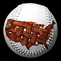 Us Bacon Weave Map Baseball Square by Andee Design