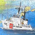 Us Coast Guard Cutter Munro Nautical Chart Cape San Blas Lighthouse Fl Nautical Chart Cathy Peek by Cathy Peek