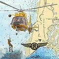 Us Coast Guard Rescue Swimmer Nautical Chart Art Cathy Peek by Cathy Peek