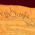 Us Constitution Closest Closeup Red Brown Background Larger Sizes by L Brown