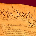 Us Constitution Closeup Violet Red Bacjground by L Brown