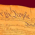 Us Constitution Closest Closeup Violet Red Background by L Brown