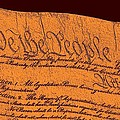 Us Constitution Closeup Sculpture Red Brown Background by L Brown