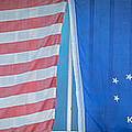Us Flag And Conch Republic Flag Key West  - Panoramic - Hdr Style by Ian Monk