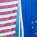 Us Flag And Conch Republic Flag Key West  - Panoramic by Ian Monk