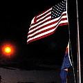 Us Flag Arizona Flag Twilight Casa Grande Arizona 2005 by David Lee Guss