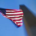 Us Flag At Washington Monument At Dusk by David Smith