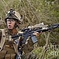 U.s. Marine Corps Machine Gunner by Stocktrek Images