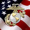U. S. Marine Corps - U S M C Eagle Globe And Anchor Over American Flag. by Serge Averbukh