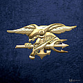 U. S. Navy S E A Ls Emblem On Blue Velvet by Serge Averbukh