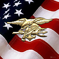 U. S. Navy S E A Ls Emblem Over American Flag by Serge Averbukh