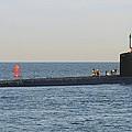 Us Navy Submarine Leaving Port by Bradford Martin