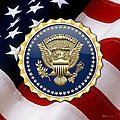 Presidential Service Badge - P S B Over American Flag by Serge Averbukh