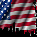 Usa American Flag With Statue Of Liberty Skyline Silhouette by David Gn