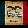 Usa American Iowa State Map Outline With Grunge Effect Flag And  by Matthew Gibson