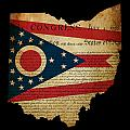 Usa American Ohio State Map Outline With Grunge Effect Flag Inse by Matthew Gibson