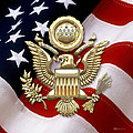 U. S. A. Great Seal In Gold Over American Flag  by Serge Averbukh