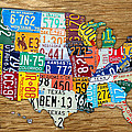 Usa License Plate Map Car Number Tag Art On Light Brown Stained Board by Design Turnpike