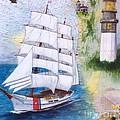 Uscg Tall Ship Eagle Chart Art Peek by Cathy Peek