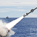 Uss Cowpens Launches A Harpoon Missile by Stocktrek Images