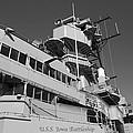 Uss Iowa Battleship Portside Bridge 01 Bw by Thomas Woolworth