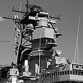 Uss Iowa Battleship Starboardside Bridge 02 Bw by Thomas Woolworth