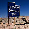 Utah Welcomes You State Sign by Panoramic Images